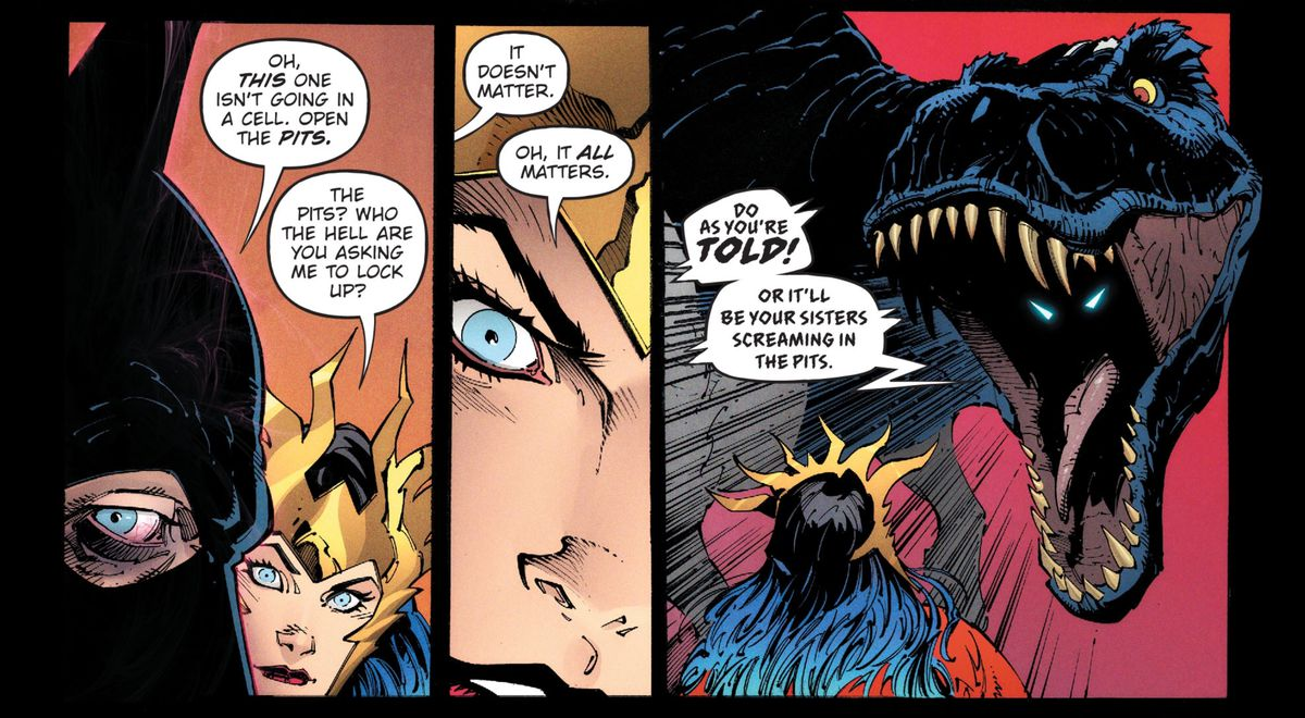 B. Rex, a Batman who uploaded his conciousness to a robotic T. rex, roars at Wonder Woman to do as she is told. In the dark depths of his mouth, there are two white triangle Batman eyes, in Dark Nights: Death Metal #1, DC Comics (2020).