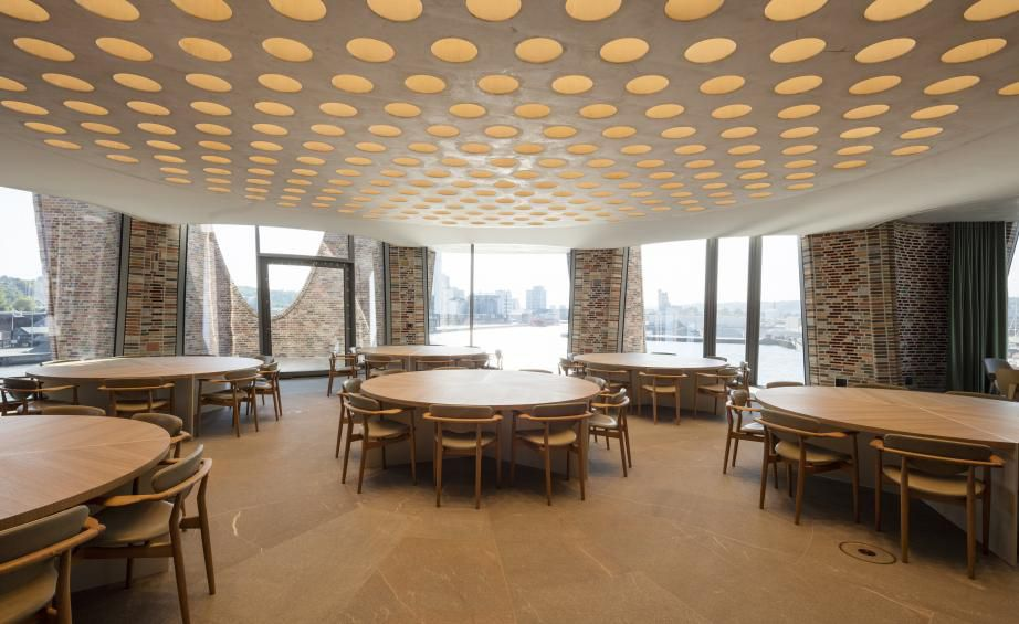 Room with round tables