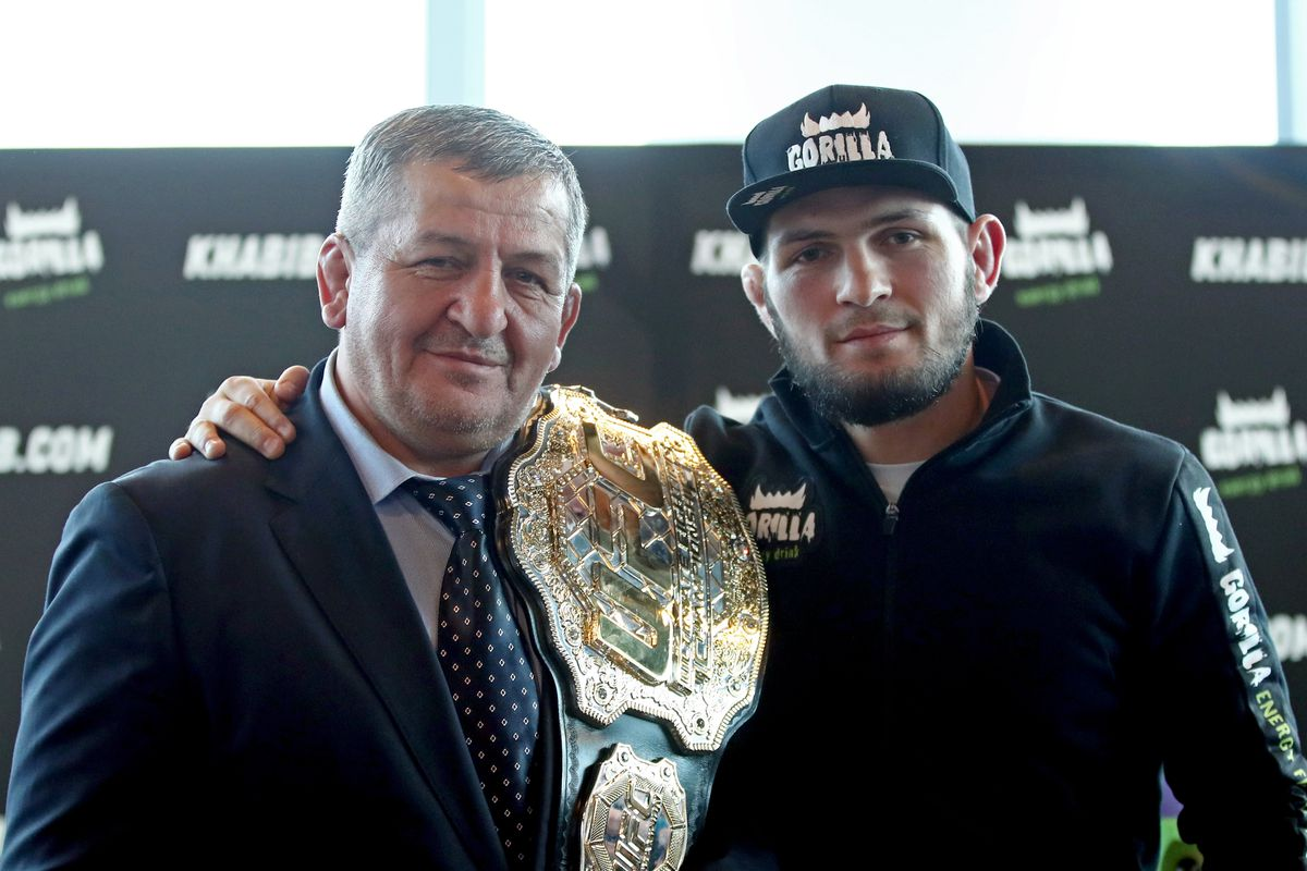 Russian mixed martial artist Nurmagomedov gives news conference