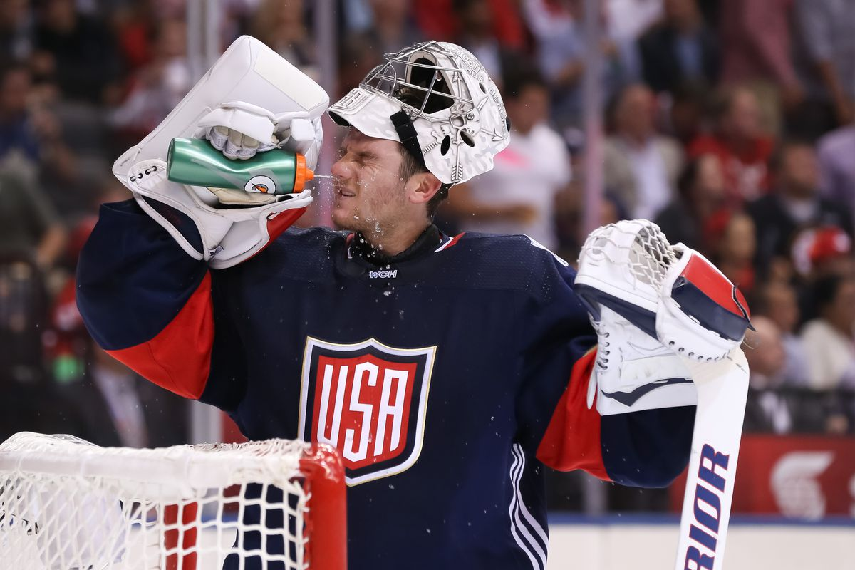 TORONTO, ON - SEPTEMBER 20: Jonathan Quick #32 of Team USA takes a break between plays against Team Canada during the World Cup of Hockey 2016 at Air Canada Centre on September 20, 2016 in Toronto, Ontario, Canada.