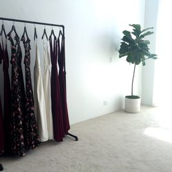 The simple space features white walls, a white carpet, natural light, and subtle plant life.