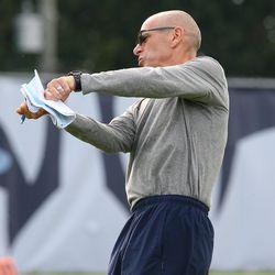 UConn defensive coordinator Lou Spanos during UConn Huskies football practice on Saturday, August 7, 2021
