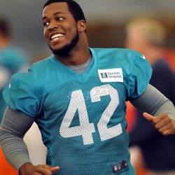 Jun 11, 2013; Davie, FL, USA; Miami Dolphins running back Charles Clay (42) smiles during practice drills at the Doctors Hospital Training Facility at Nova Southeastern University.