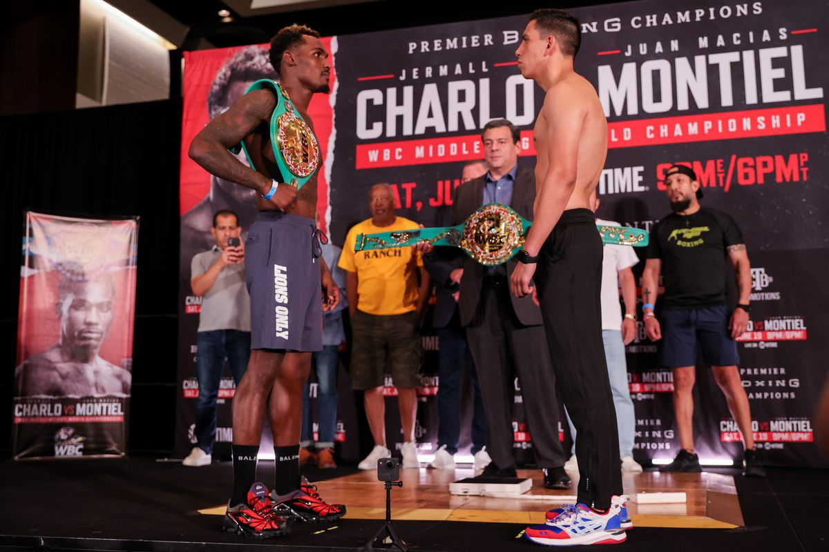 Jermall Charlo of the United States faces off against Juan Macias Montiel of Mexico during the weigh in ahead of their WBC Middleweight World Championship fight at Toyota Center on June 18, 2021 in Houston, Texas.