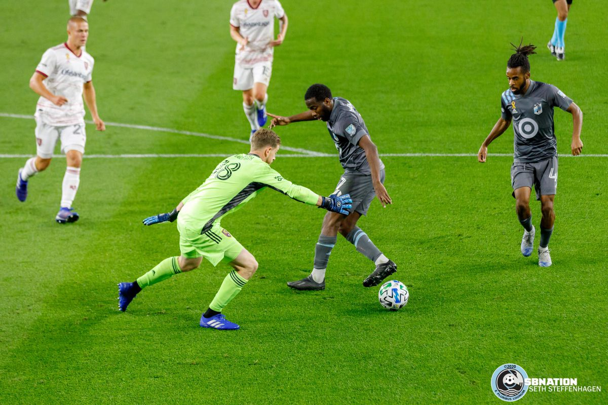 September 6, 2020 - Saint Paul, Minnesota, United States - Minnesota United midfielder Kevin Molino (7) flicks the ball back to Raheem Edwards (44) which leads to a goal scored by Jacori Hayes (5) at Allianz Field.