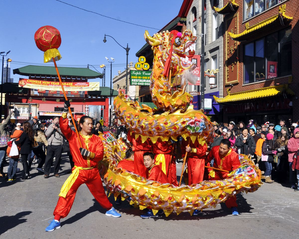 The 107th annual parade in Chinatown at 1 p.m. Feb. 10 is among the many ways Chicagoans can celebrate Chines New Year.   Courtesy of Chicago Chinatown Special Events