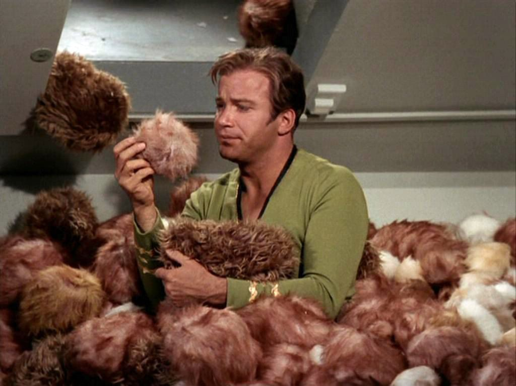 Captain James T. Kirk being overrun by tribbles.