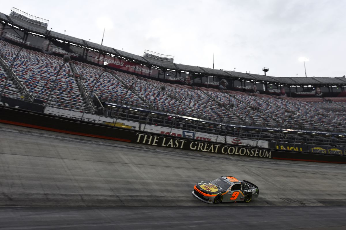 Noah Gragson, driver of the #9 Bass Pro Shops/Black Rifle Coffee Chevrolet, drives during the NASCAR Xfinity Series Food City 300 at Bristol Motor Speedway on September 18, 2020 in Bristol, Tennessee.