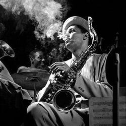This 1948 photo shows saxophonist Dexter Gordon at the Royal Roost in New York. This 1948 photo shows saxophonist Dexter Gordon at the Royal Roost in New York.