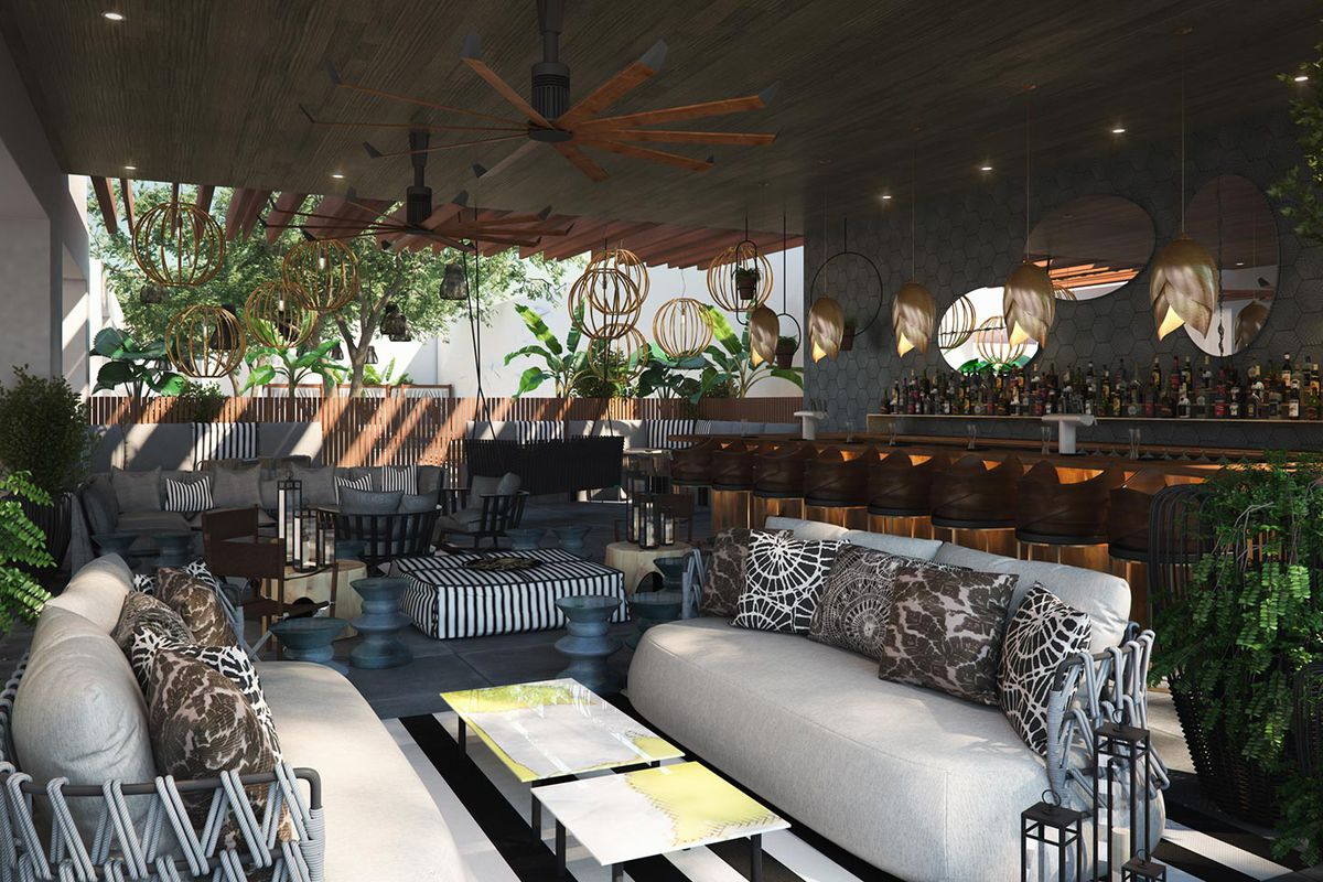 A Rendering For Bar At La R Hotel Via