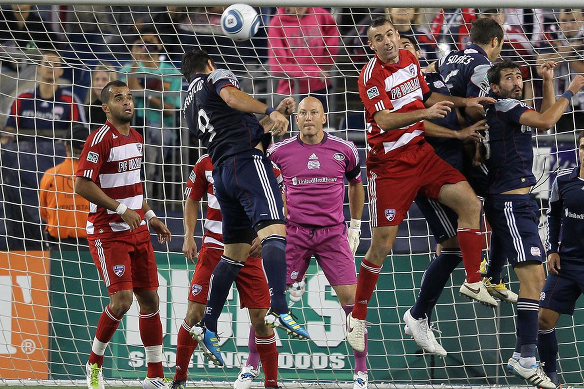 FOXBORO, MA - SEPTEMBER 10:  Matt Reis #1 of the New England Revolution defends the net against the FC Dallas at Gillette Stadium on September 10, 2011 in Foxboro, Massachusetts. (Photo by Jim Rogash/Getty Images)
