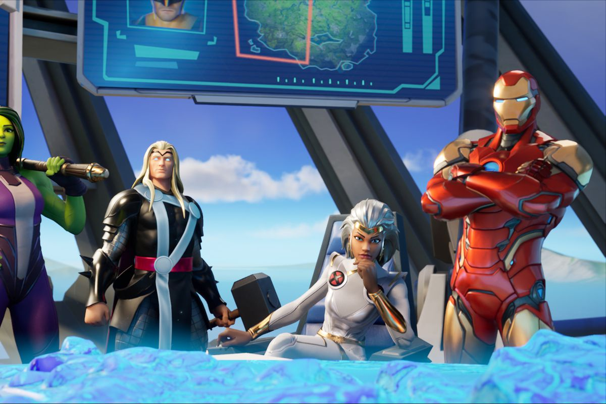 Iron Man, Storm, She-Hulk, and Thor gathered together in Fortnite