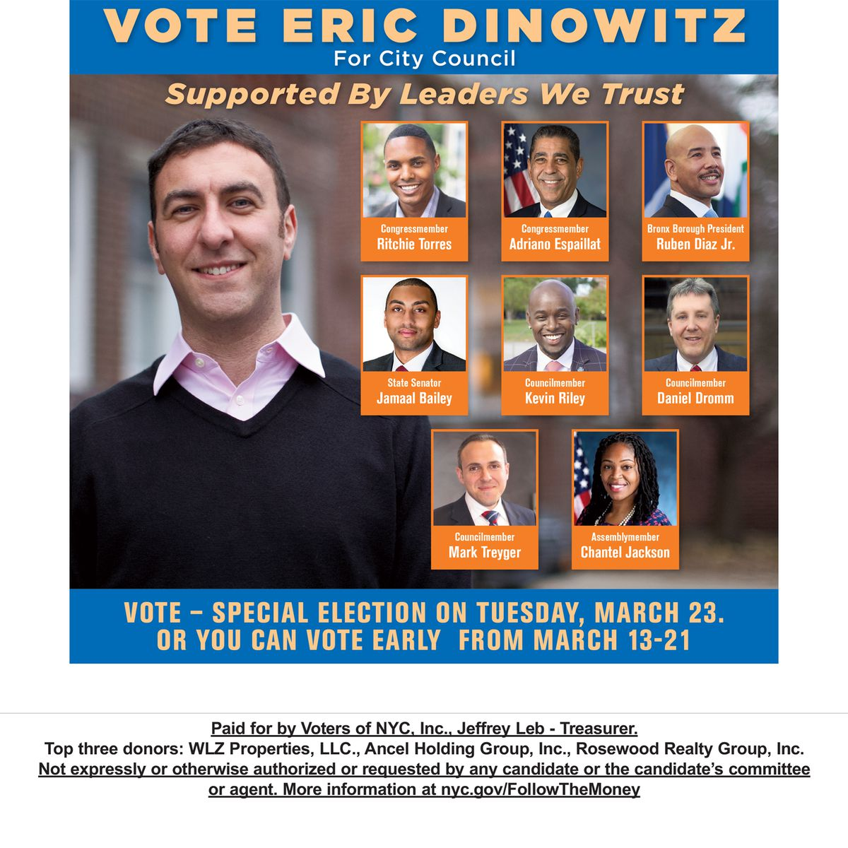 The independent group Voters of NYC, Inc., paid for a flyer promoting Eric Dinowitz' Bronx City Council run.