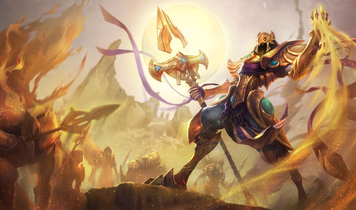 Azir summons his sand-based soldiers in his base skin