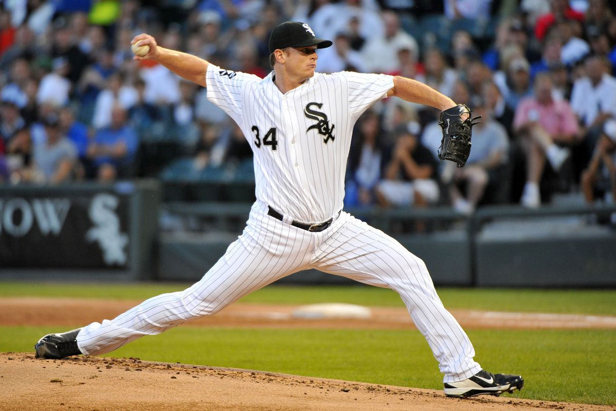 August 20, 2012; Chicago, IL, USA; Chicago White Sox starting pitcher Gavin Floyd (34) delivers a pitch during the first inning against the New York Yankees at U.S. Cellular Field.  Mandatory Credit: Rob Grabowski-US PRESSWIRE