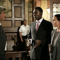 """District Attorney Jack McCoy (Sam Waterston), left, faces off against his former colleague, Paul Robinette (Richard Brooks), in the case of a nurse (guest star Stephanie Roth Haberle) accused of causing the death of a patient on Wednesday's episode \— the 355th \— of NBC's original """"Law \& Order"""" (9 p.m., Ch. 5)."""