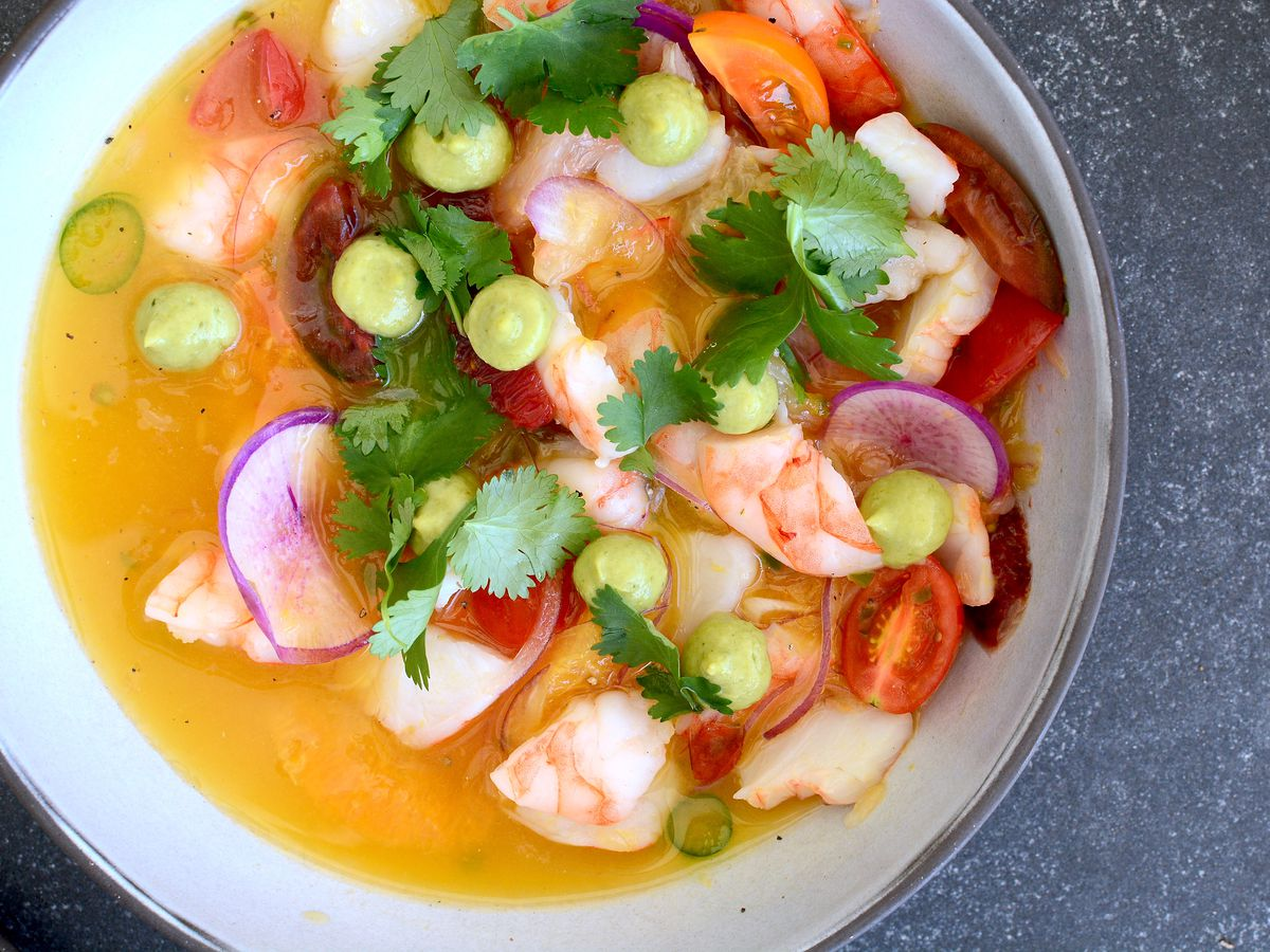 Shrimp ceviche at Coin and Candor in Westlake Village.