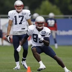 New England Patriots wide receiver Brandon Lloyd (85) cuts as wide receiver Greg Salas (17) watches during a practice drill at Gillette Stadium in Foxborough, Mass. Wednesday, Sept. 5, 2012. The Patriots are preparing for their NFL football season opener against the Tennessee Titans on Sunday.