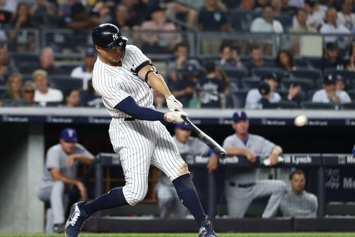 Giancarlo Stanton set a Stacast mark with a 121.7-mph exit velocity on his  fifth inning home run. Photo by Al Bello Getty Images fd29e097b75