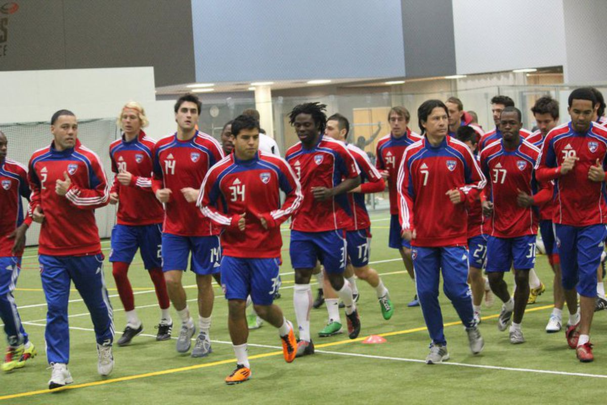 "FC Dallas continues training indoors today. (via <a href=""http://sphotos.ak.fbcdn.net/hphotos-ak-snc6/hs301.snc6/180932_488507491151_36237821151_6387496_4804958_n.jpg"">FC Dallas's facebook page</a>)"