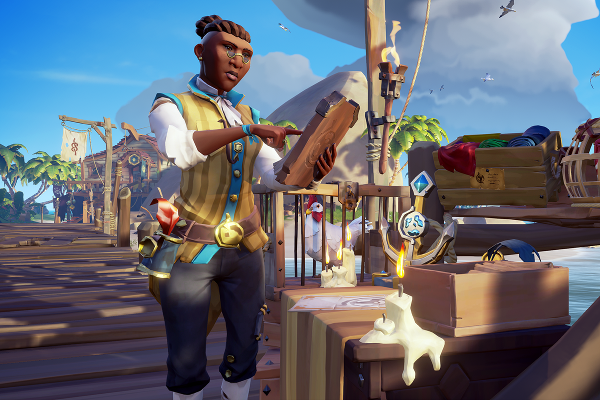Sea of Thieves - a senior trader of the Merchant Alliance stands at the dock, next to crates of valuable cargo to ship off.