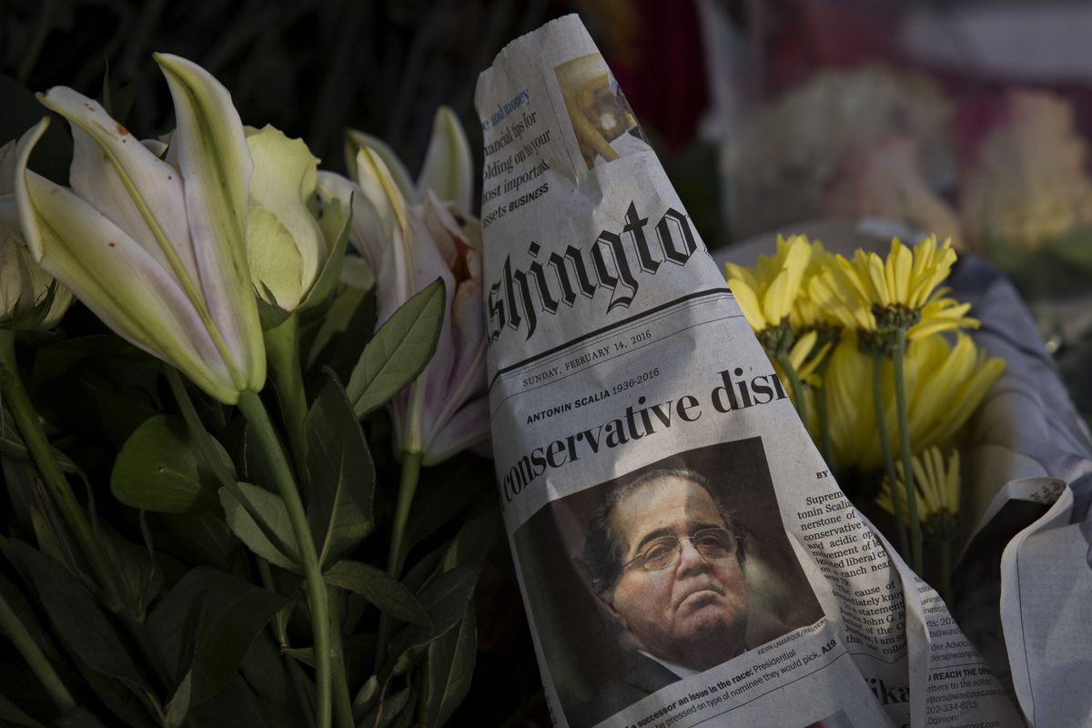 A makeshift memorial for Supreme Court Justice Antonin Scalia is seen at the US Supreme Court, February 14, 2016, in Washington, DC.