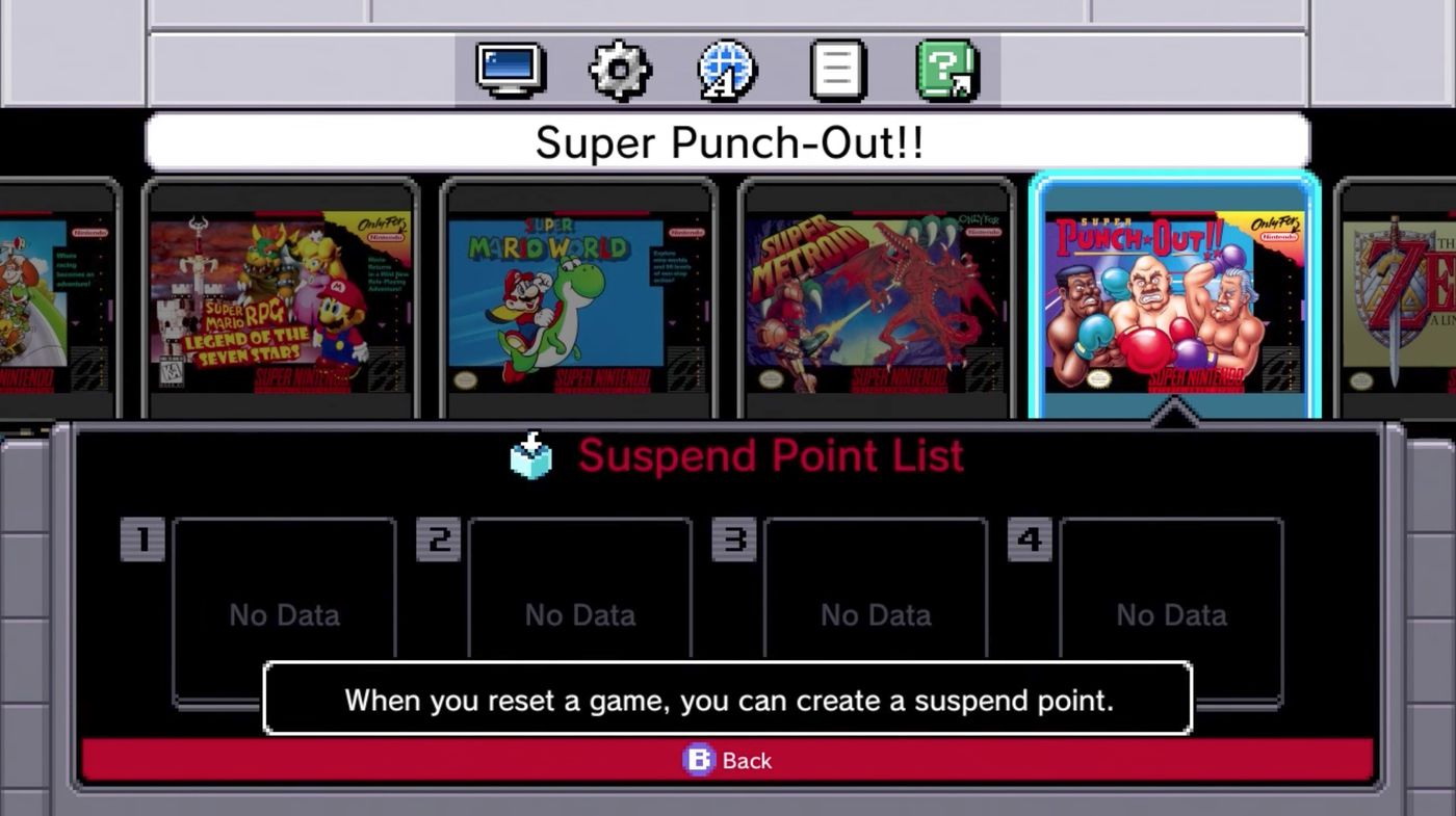 SNES Classic menu suspend points