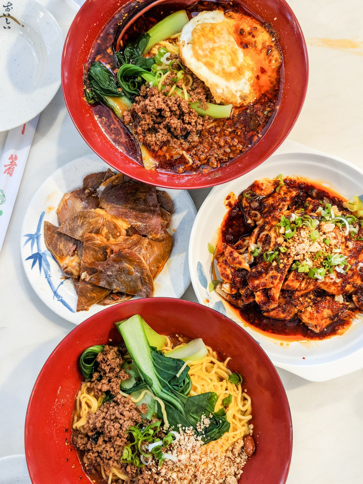 Noodles, sliced beef, and cold chicken at Chongqing special noodles