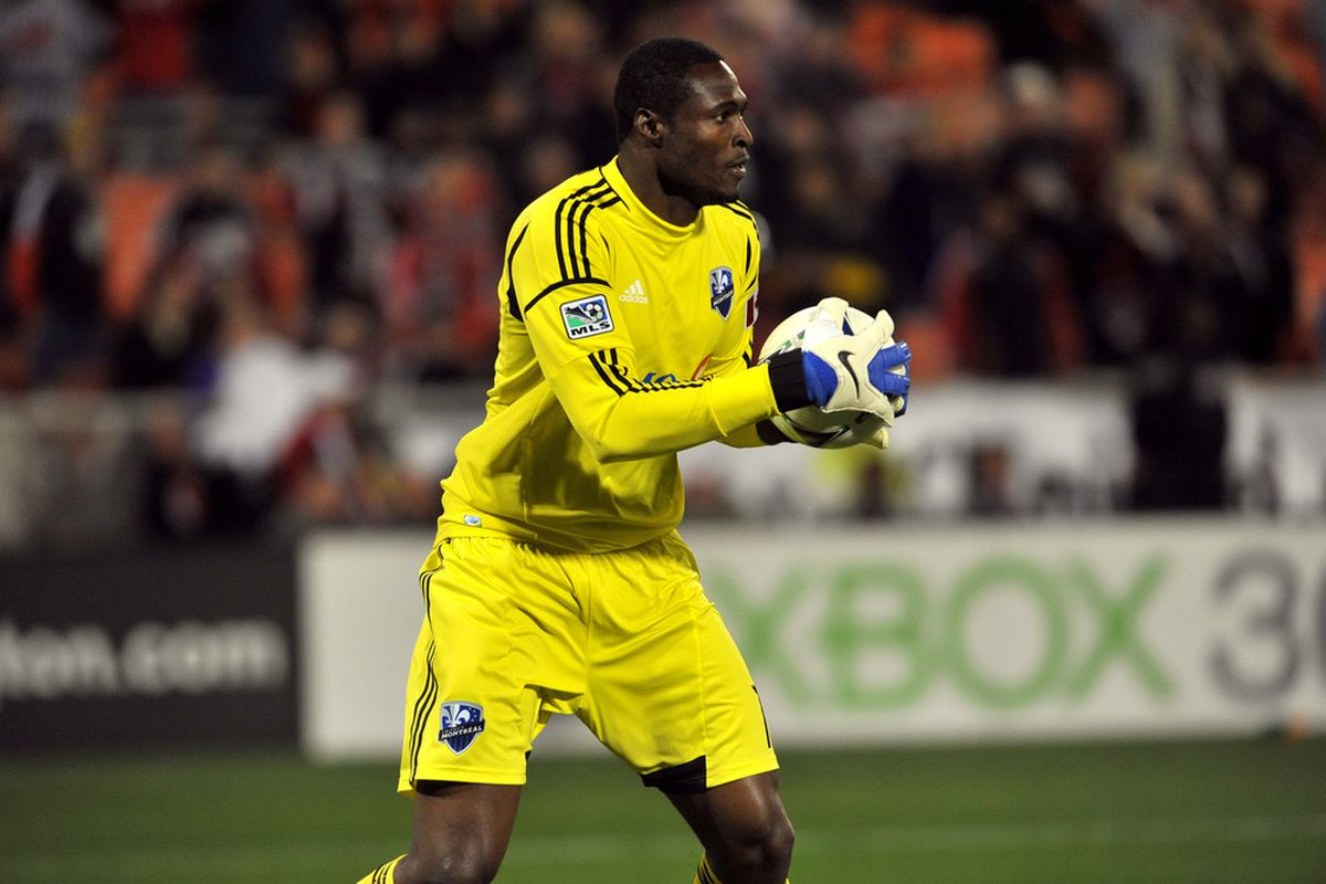 WASHINGTON, DC - APRIL 18:  Donovan Ricketts #1 of Montreal Impact clears the ball during the game against D.C. United at RFK Stadium on April 18, 2012 in Washington, DC. Montreal Impact tied D.C United 1-1.(Photo by Larry French/Getty Images)