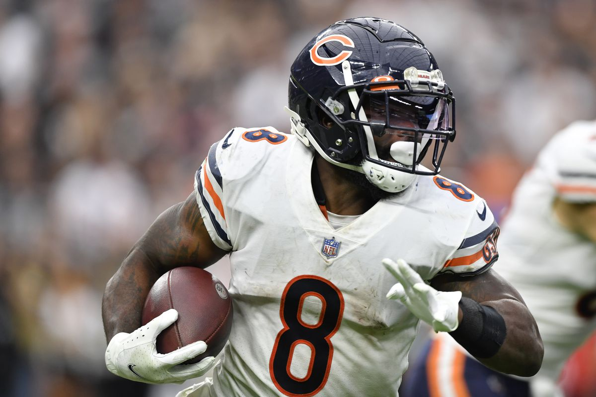 Running back Damien Williams #8 of the Chicago Bears runs against the Las Vegas Raiders during the second half of a game at Allegiant Stadium on October 10, 2021 in Las Vegas, Nevada. The Bears defeated the Raiders 20-9.