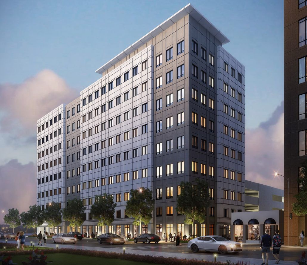 A rendering of a nine-story office building with three bays of windows on a corner with a black facade behind, and then a longer white volume.