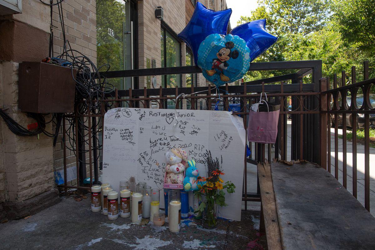 A memorial for Davell Gardner, Jr. outside his Bedford-Stuyvesant, Brooklyn, home, July 14, 2020.