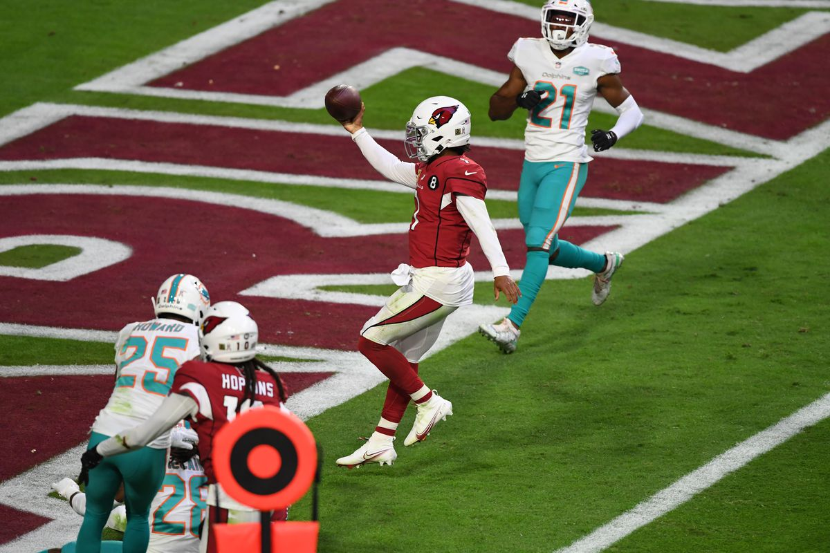 Kyler Murray #1 of the Arizona Cardinals scores a rushing touchdown against the Miami Dolphins at State Farm Stadium on November 08, 2020 in Glendale, Arizona.