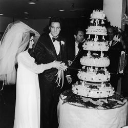 On May 1st, 1967, Priscilla Beaulieu Presley made it official with her rock star sweetheart at the Aladdin hotel in Vegas, dressed in a beaded chiffon gown of her own design.