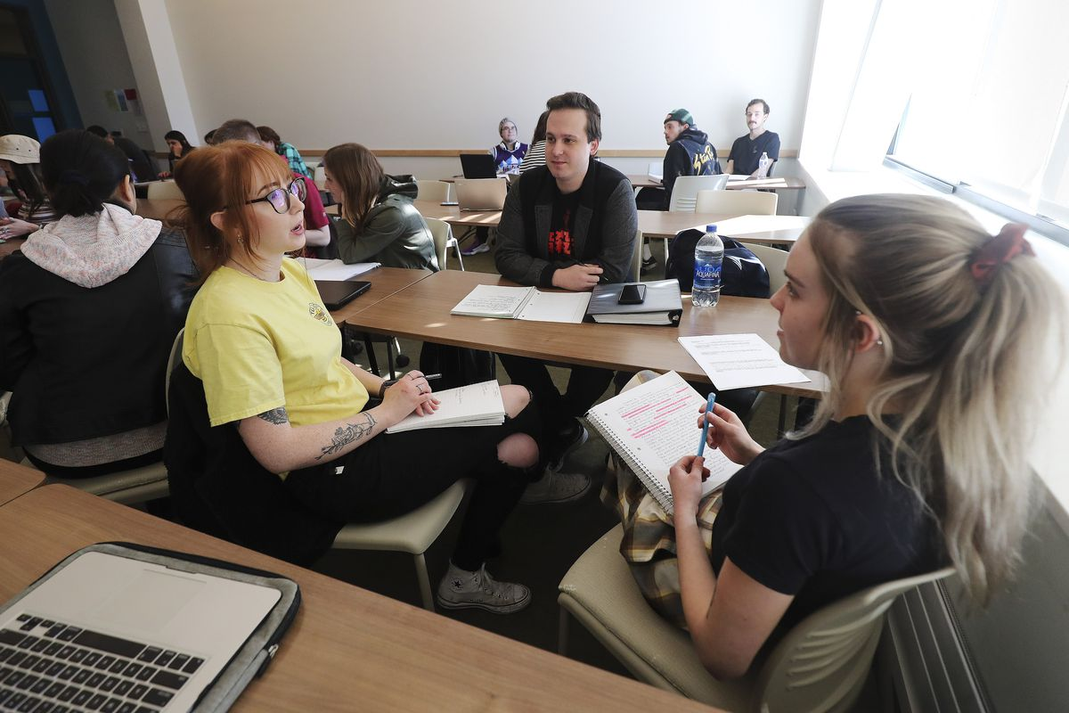 Salt Lake Community College students Gabby Summerhays, Austin Hansen and Abby Adams discuss a project in class on campus in Taylorsville on Tuesday, March 10, 2020. Utah colleges continue to make contingency plans in the wake of the spread of COVID-19. Some plans include moving exclusively to online classes.