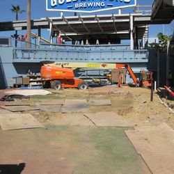 A view of the Dodgers bullpen amid construction at Dodger Stadium, March 3, 2020