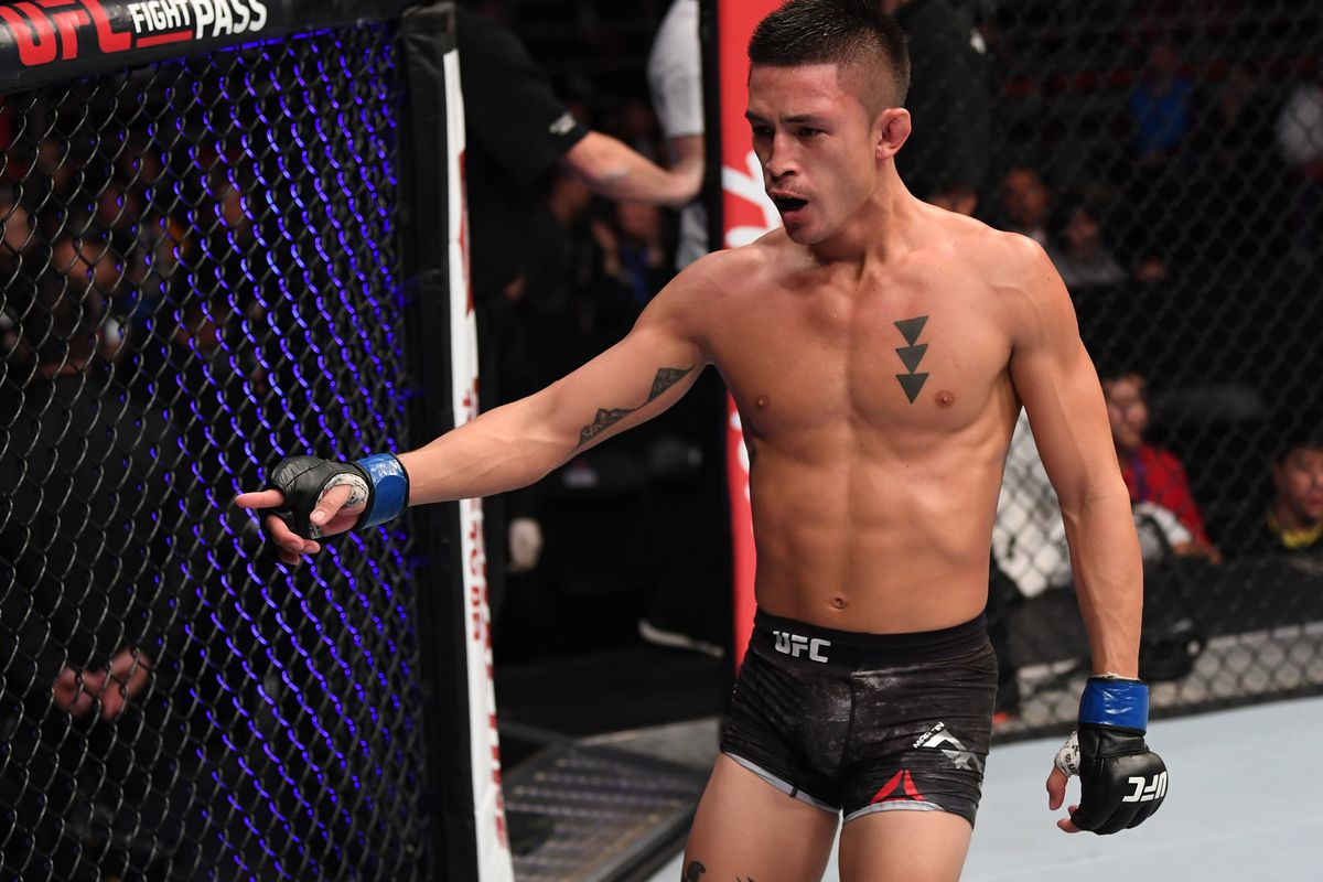Martin Day reacts after the conclusion of his bantamweight bout against Liu Pingyuan during the UFC Fight Night event inside Cadillac Arena on November 24, 2018 in Beijing, China.