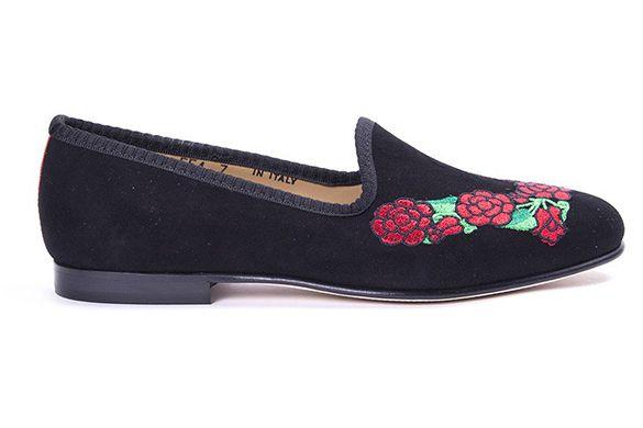 Black Suede Slipper With Rose Wreath Embroidery. Black Grosgrain Trim