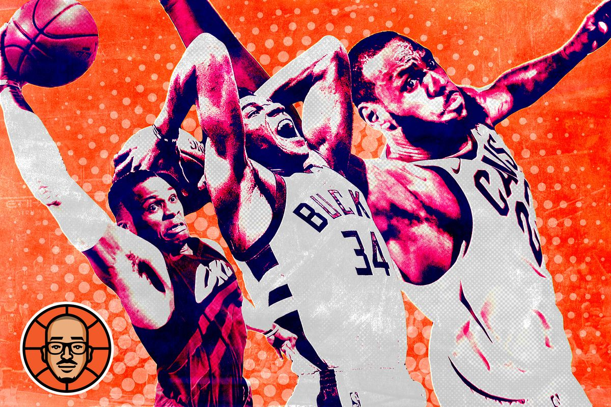 Russell Westbrook, Giannis Antetokounmpo, and LeBron James