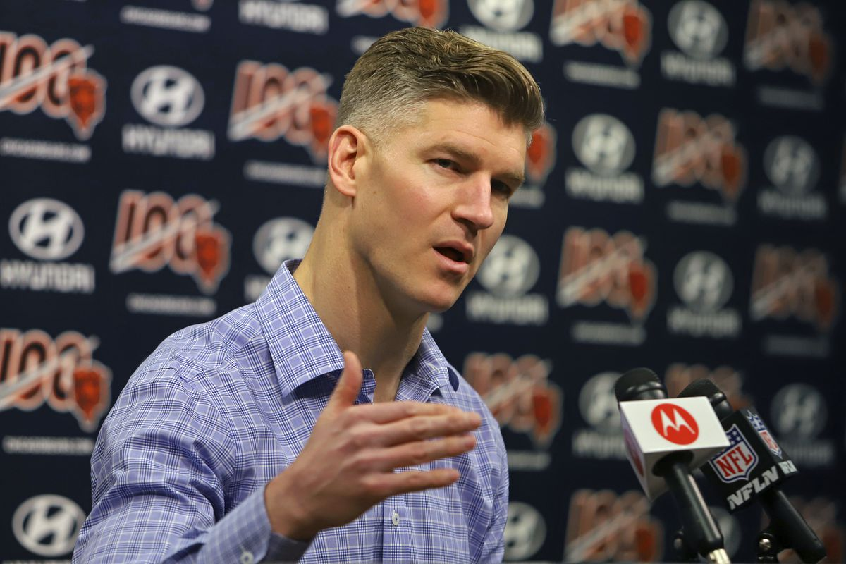 Bears general manager Ryan Pace spoke to reporters on Tuesday ahead of this week's NFL Draft.
