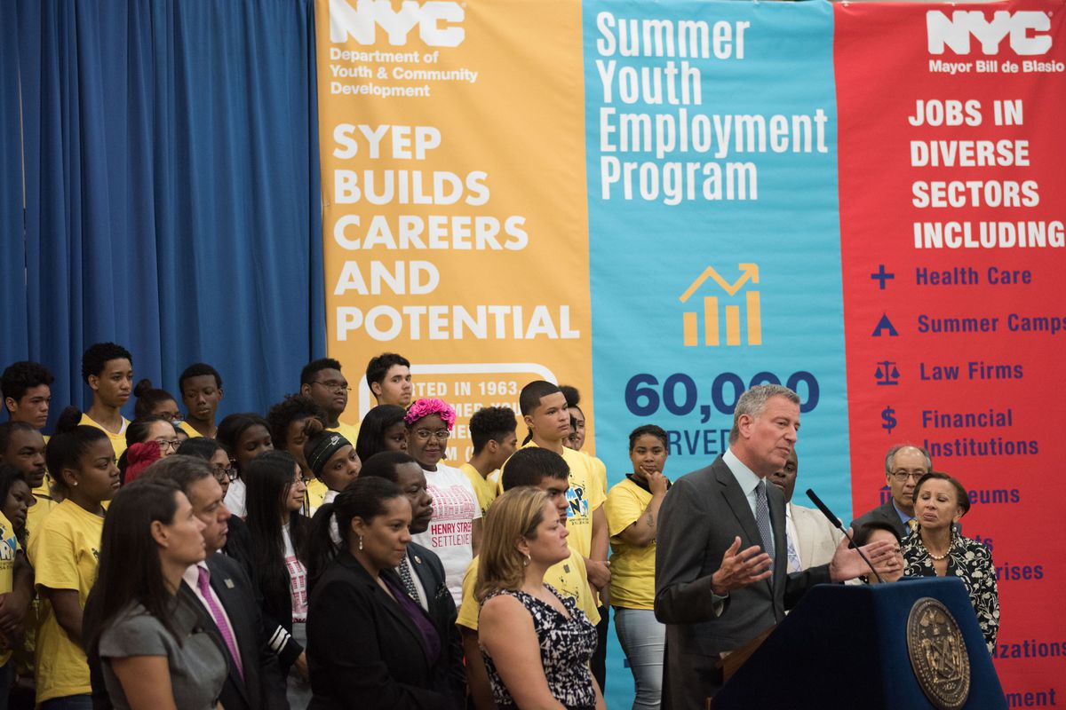 Mayor Bill de Blasio speaks at an event for the Summer Youth Employment Program in 2016.
