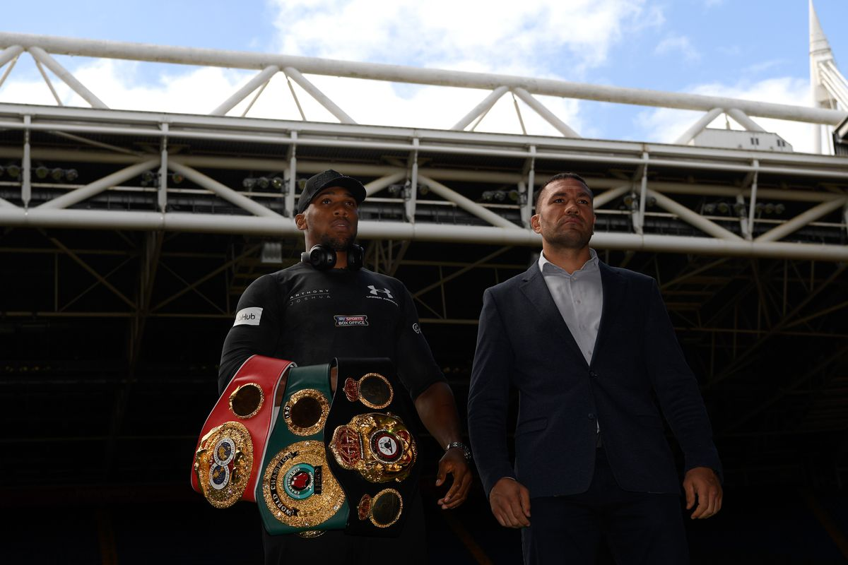 Anthony Joshua and Kubrat Pulev pictured during a media opportunity ahead of their World Heavyweight title clash at Principality Stadium on September 11, 2017 in Cardiff, Wales.