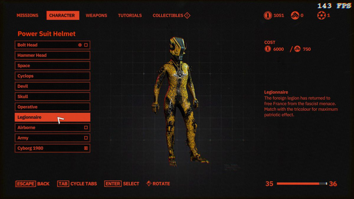 An image of a Wolfenstein engine suit: Youngblood for the price of 6,000 silver coins or 750 gold bars.
