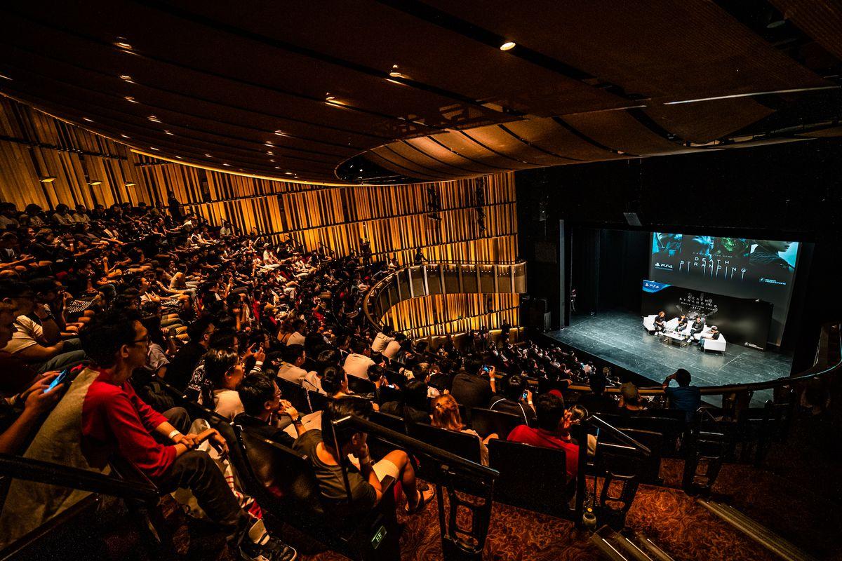 Hideo Kojima on stage in Singapore
