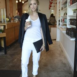 """Emily of <a href=""""http://cupcakesandcashmere.com""""target=""""_blank""""> Cupcakes and Cashmere</a> is wearing an Isabel Marant x H&M blazer, an <a href=""""http://www.shopbop.com/short-sleeve-neck-tee-lna/vp/v=1/845524441918689.htm?folderID=2534374302092591&fm=o"""