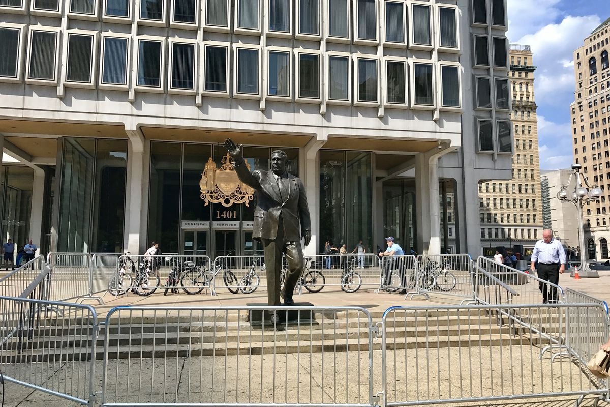 The Rizzo statue will be removed from Thomas Paine Plaza