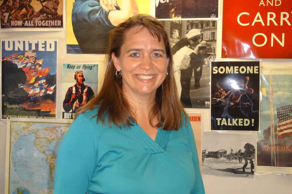 Virginia Clark DeCesare, a history teacher at Cherry Creek High School, in her classroom.