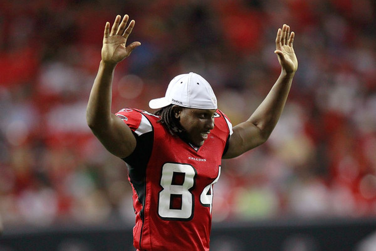 ATLANTA - AUGUST 13:  Roddy White #84 of the Atlanta Falcons reacts after a touchdown against the Kansas City Chiefs at Georgia Dome on August 13 2010 in Atlanta Georgia.  (Photo by Kevin C. Cox/Getty Images)