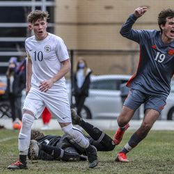 Ben Passey, right, celebrates a Brighton goal during a soccer match against Skyline at the Cottonwood Heights Recreation Center on Friday, March 26, 2021.