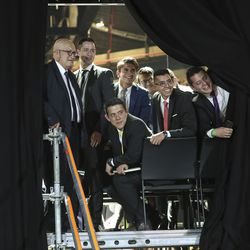 The choir watch as President Russell M. Nelson of The Church of Jesus Christ of Latter-day Saints leaves a devotional at Movistar Arena in Bogota, Colombia, on Sunday, Aug. 25, 2019.